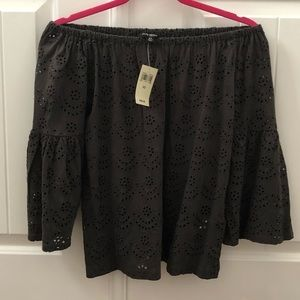 Off the shoulder black blouse!!! NWT NEVER WORN!!